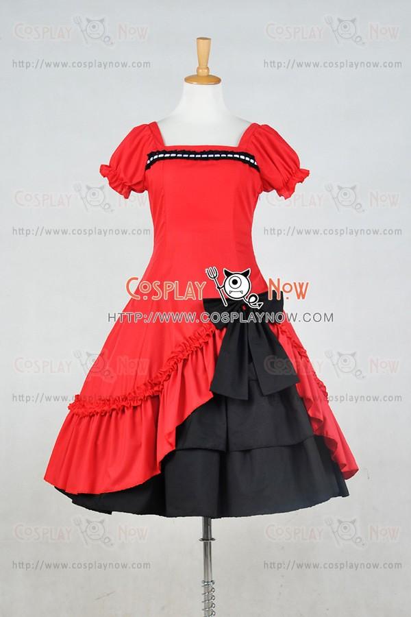 afa7e35e37d0 Lolita Dress Classical Lace Victorian Lolita Red Black Dress Cosplay Costume