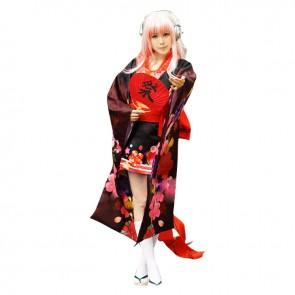 Super Sonico Cosplay Costume Print Kimono