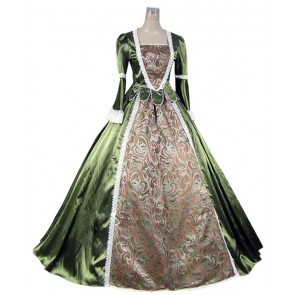 Renaissance Colonial Gothic Ball Gown Prom Brocade Satin Dress