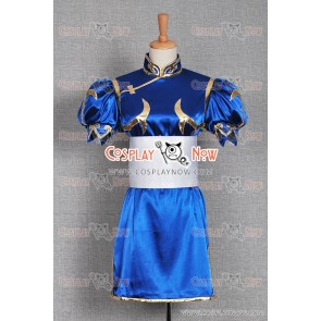Street Fighter Cosplay Chun Li Costume Blue Uniform