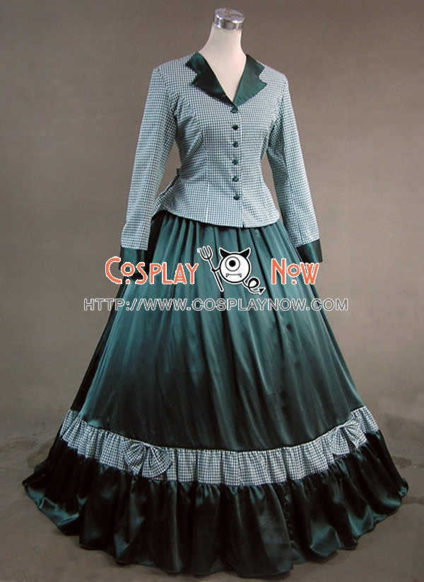 Civil War Victorian Tartan Ball Gown Dress Prom